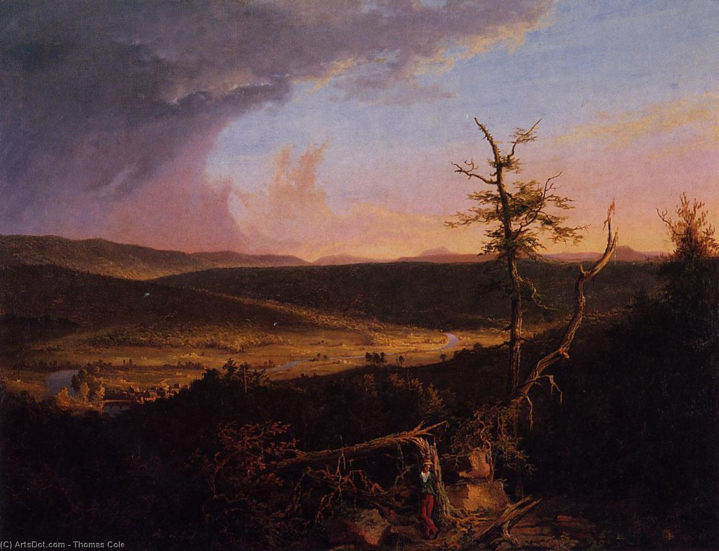 Vista sul Schoharie, olio su tela di Thomas Cole (1801-1848, United Kingdom)
