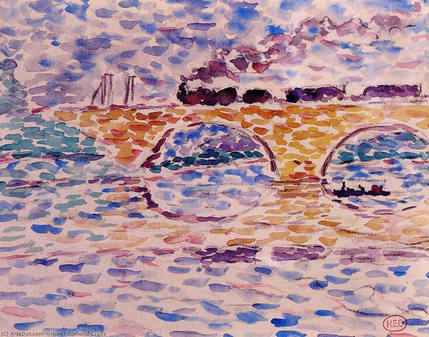 Il viadotto, acquerello di Henri Edmond Cross (1856-1910, France)
