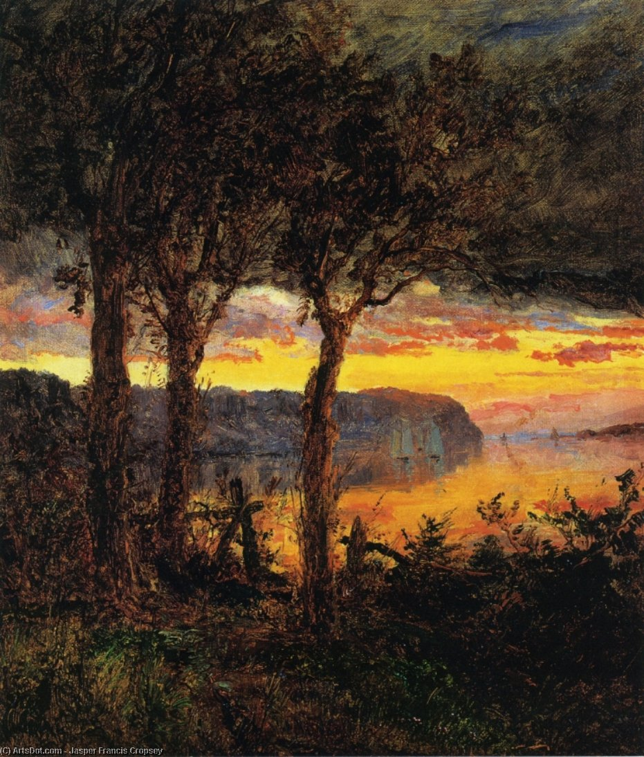 Palisades fronte Hastings-on-Hudson, olio su tela di Jasper Francis Cropsey (1823-1900, United States)
