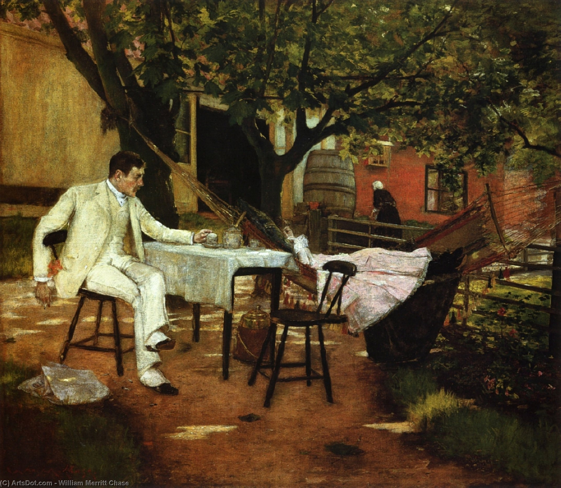 un'estate Afternon in olanda ( noto anche come luce del sole e ombra ), pittura di William Merritt Chase (1849-1916, United States)