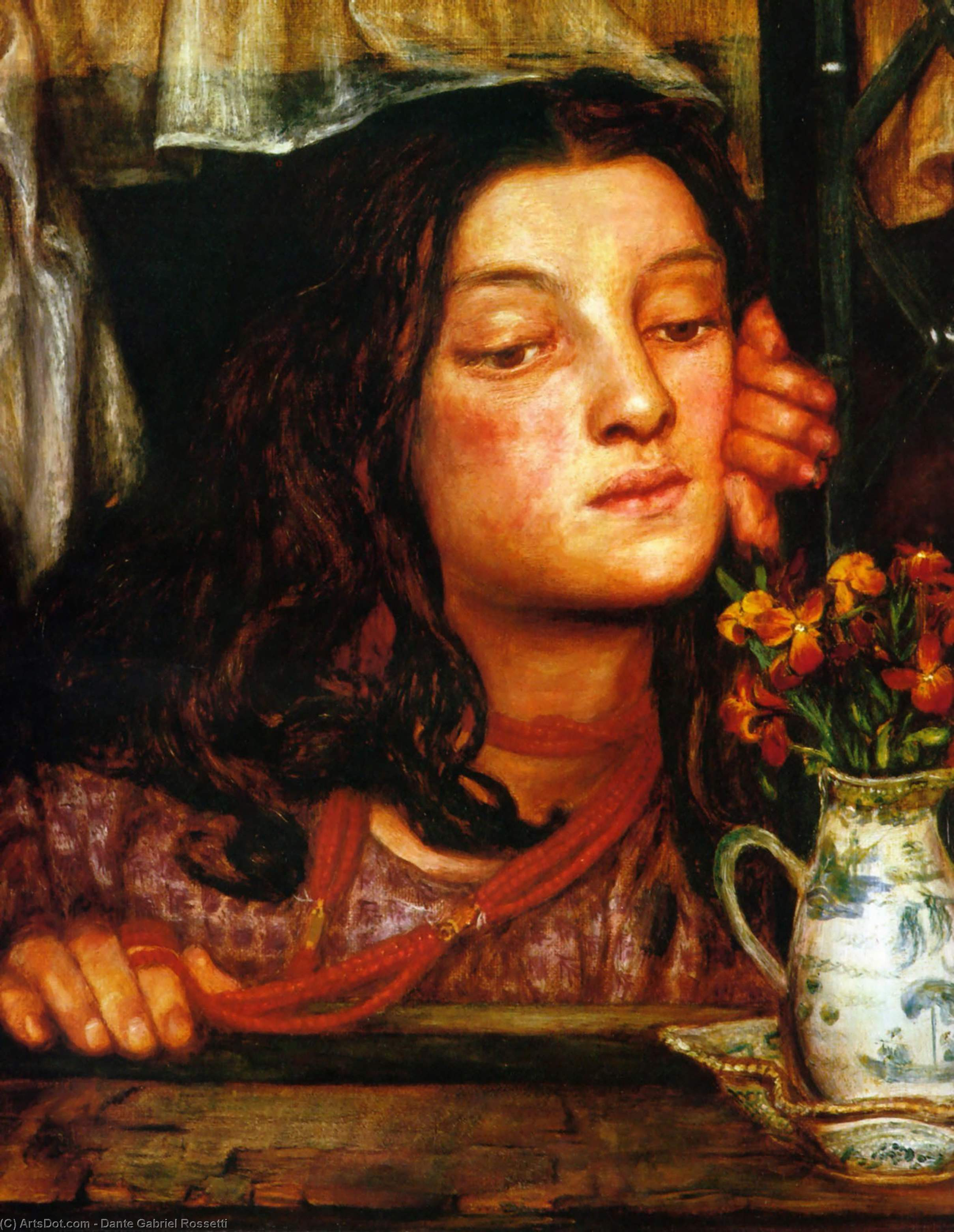 Ragazza ad un Lattice, olio su tela di Dante Gabriel Rossetti (1828-1882, United Kingdom)