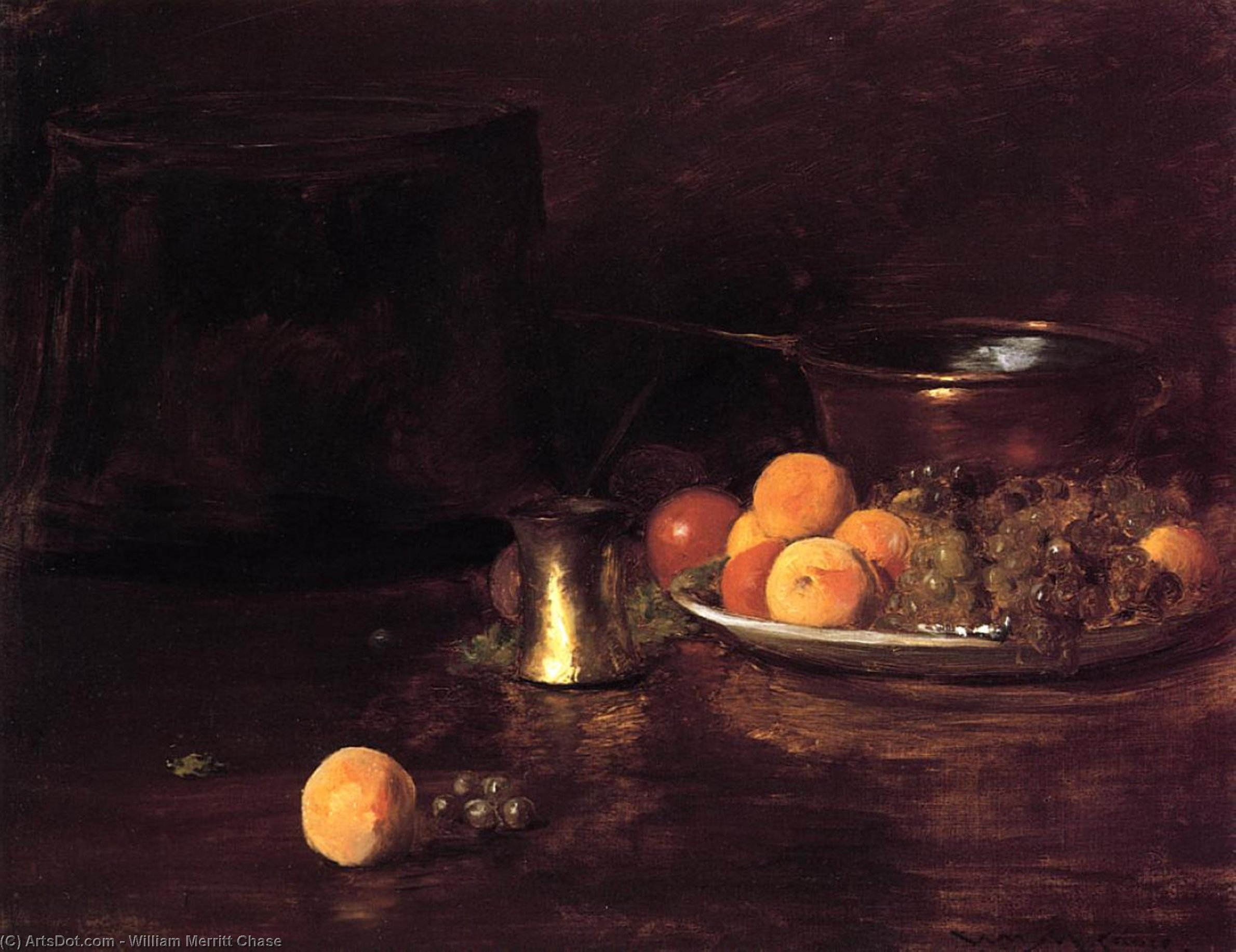 natura morta -   Frutta , olio su tela di William Merritt Chase (1849-1916, United States)