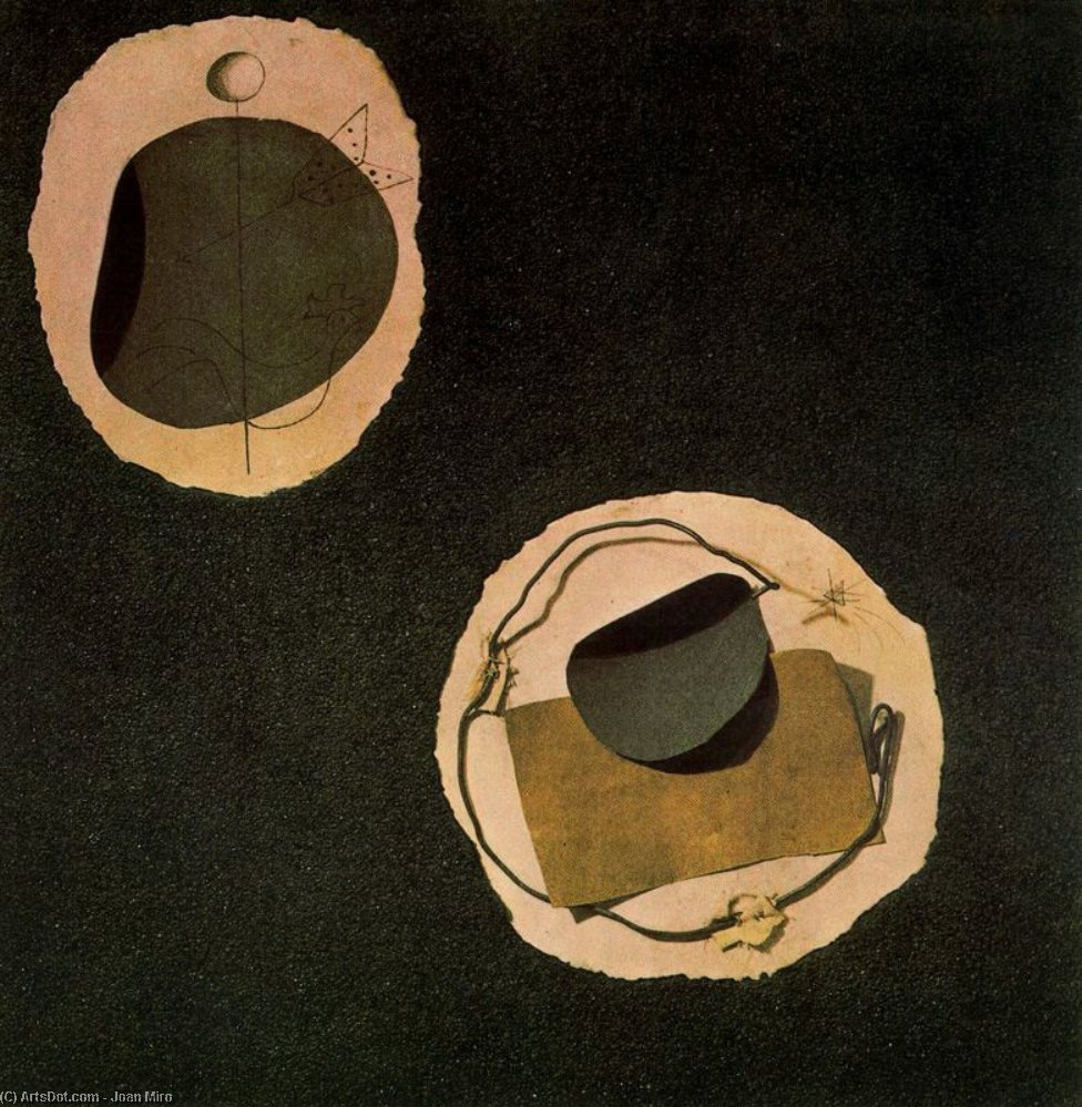 Papier collé, olio di Joan Miro (1893-1983, Spain)