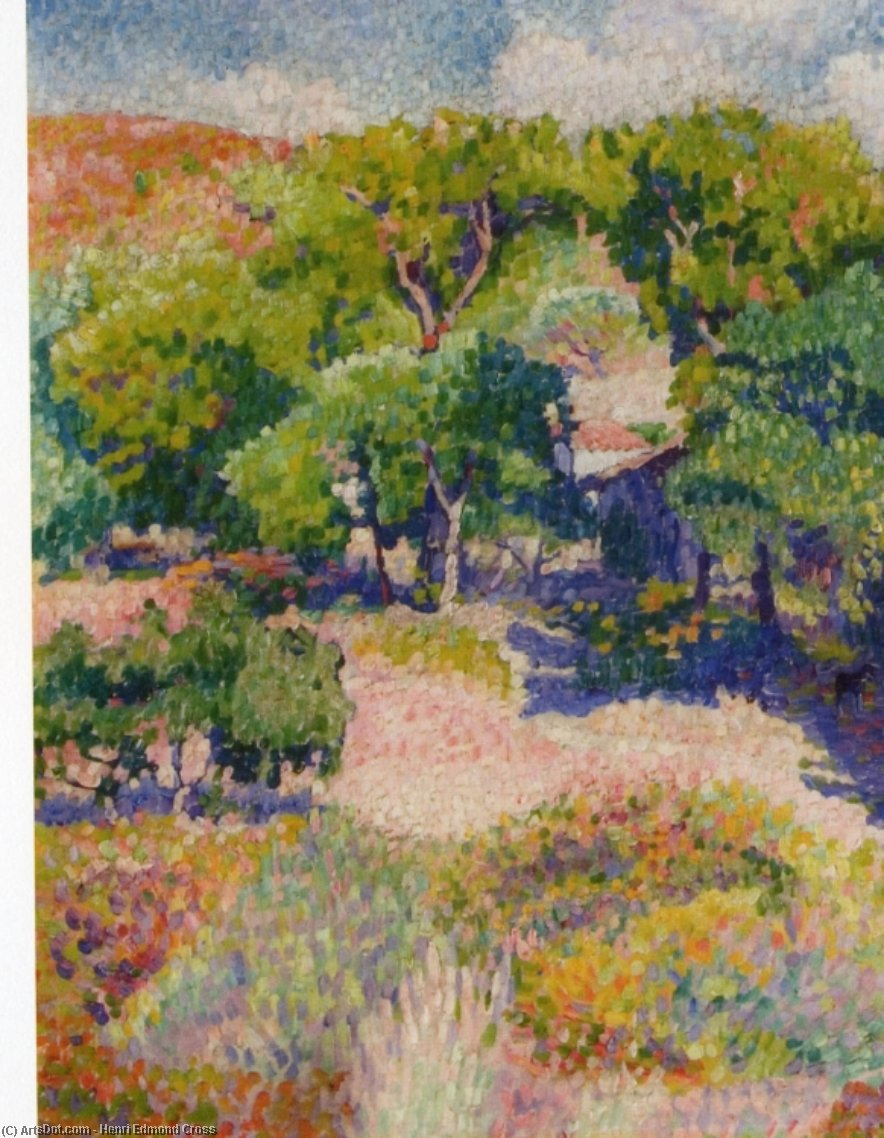 Cipressi, olio su tela di Henri Edmond Cross (1856-1910, France)