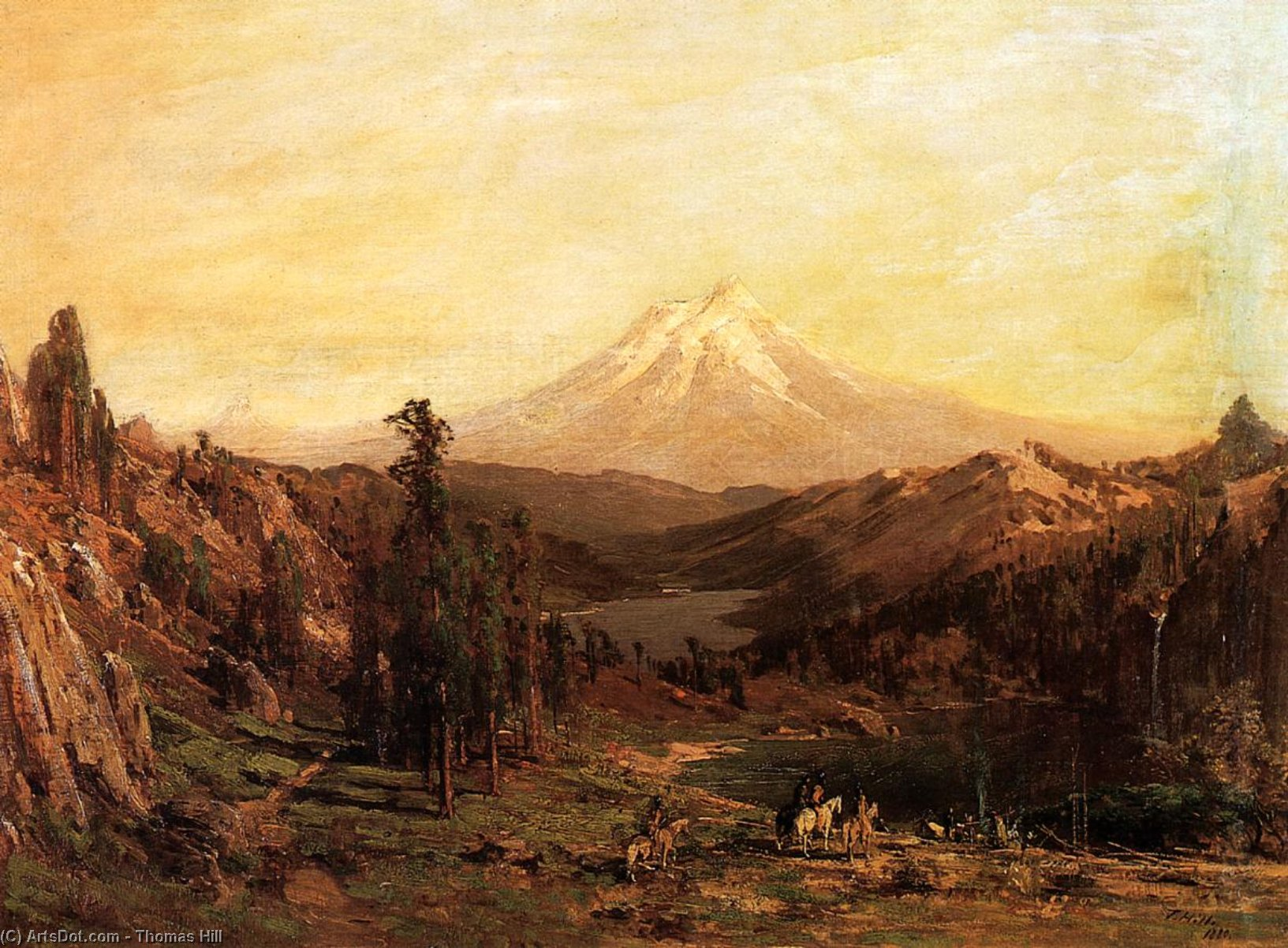 mount shasta e il castello Lago , In california, olio su tavola di Thomas Hill (1829-1908, United Kingdom)