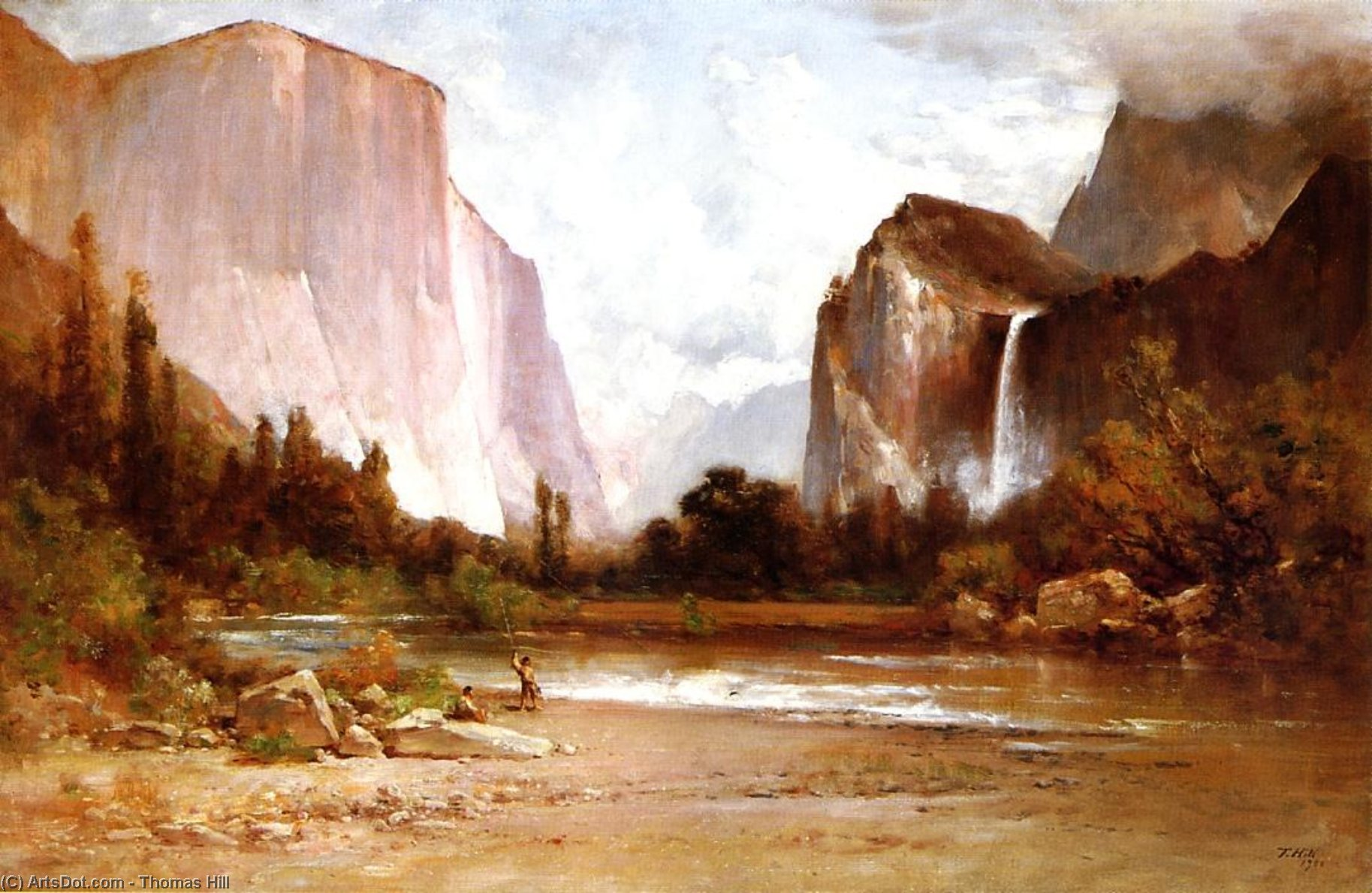 Piute Indiani Pesca in Yosemite, olio su tela di Thomas Hill (1829-1908, United Kingdom)