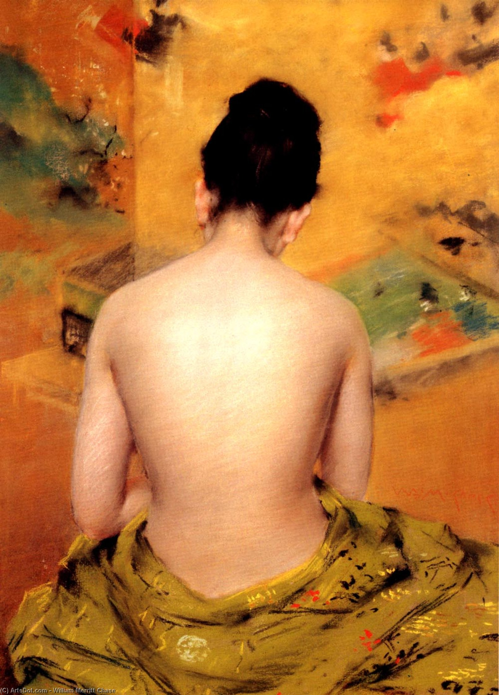 il retro di Un  Nudo , olio su tela di William Merritt Chase (1849-1916, United States)