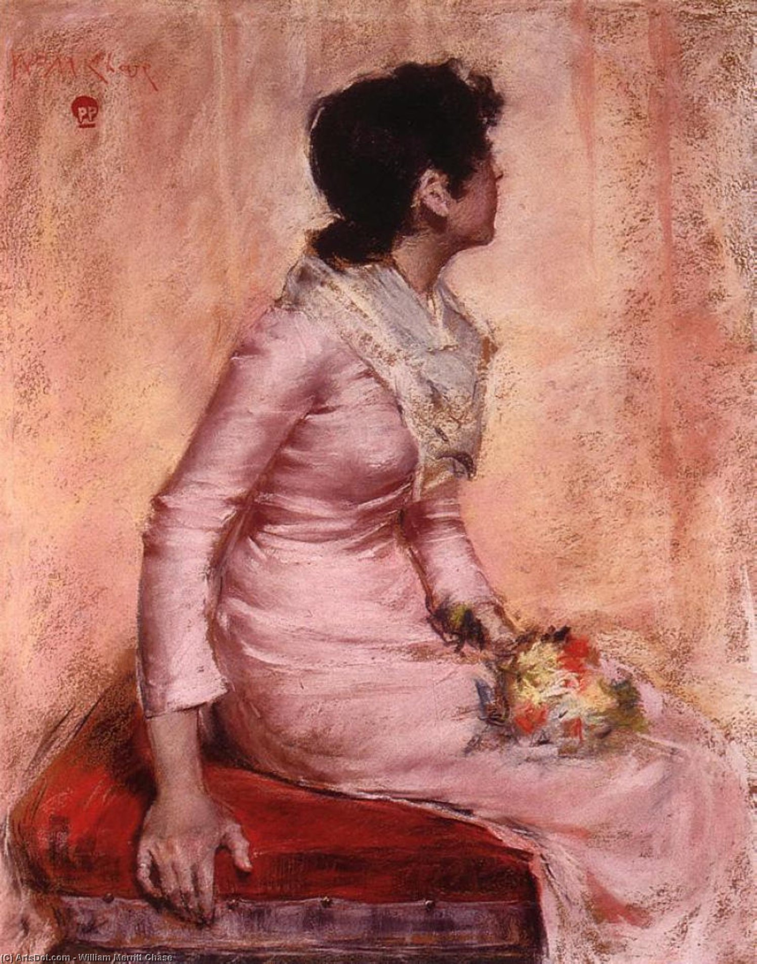 Sorpresa, pastello di William Merritt Chase (1849-1916, United States)
