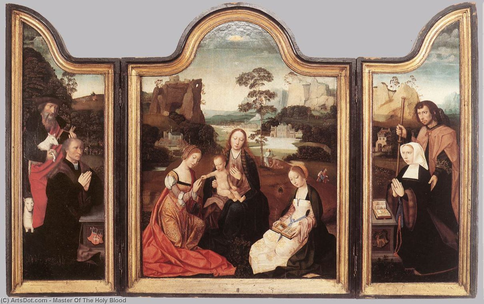 madonna col bambino con san catherine e san Barbara, olio su tavola di Master Of The Holy Blood