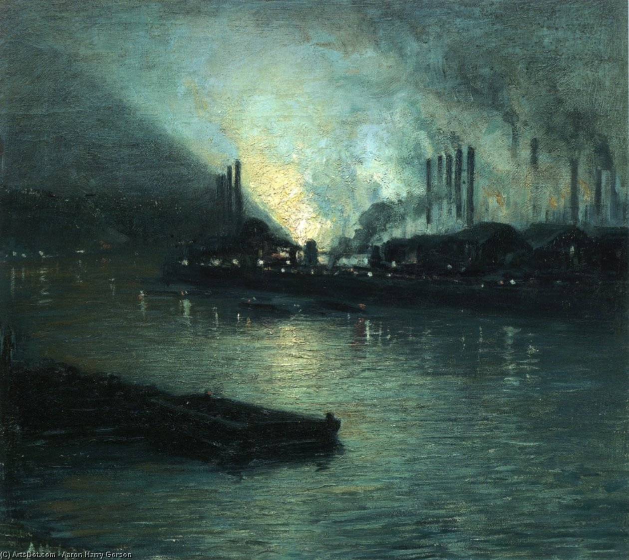 Pittsburgh Industriale Notturno di Aaron Harry Gorson (1872-1933, Lithuania)