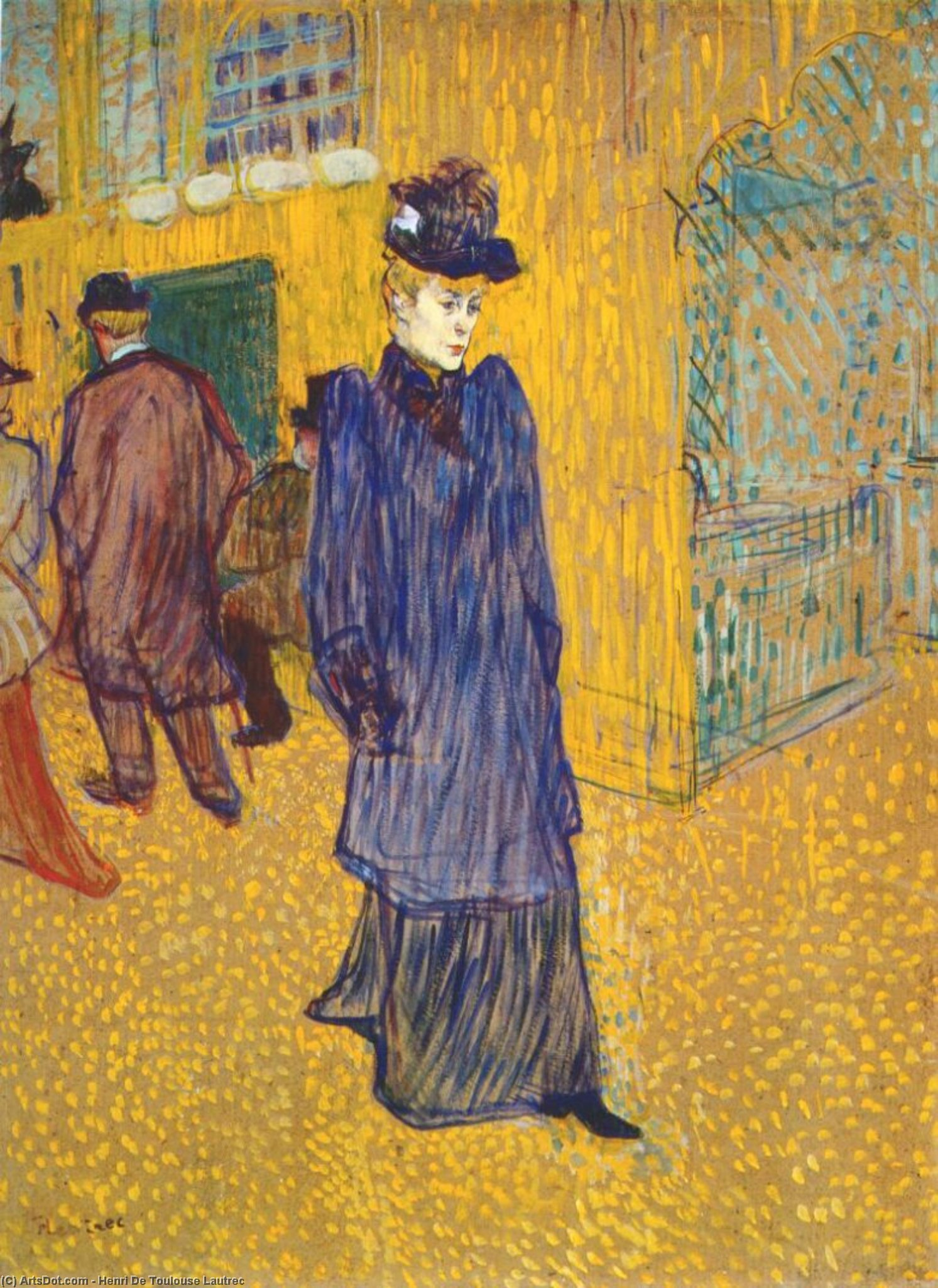 Jane Avril lasciando il Moulin Rouge, olio di Henri De Toulouse Lautrec (1864-1901, France)