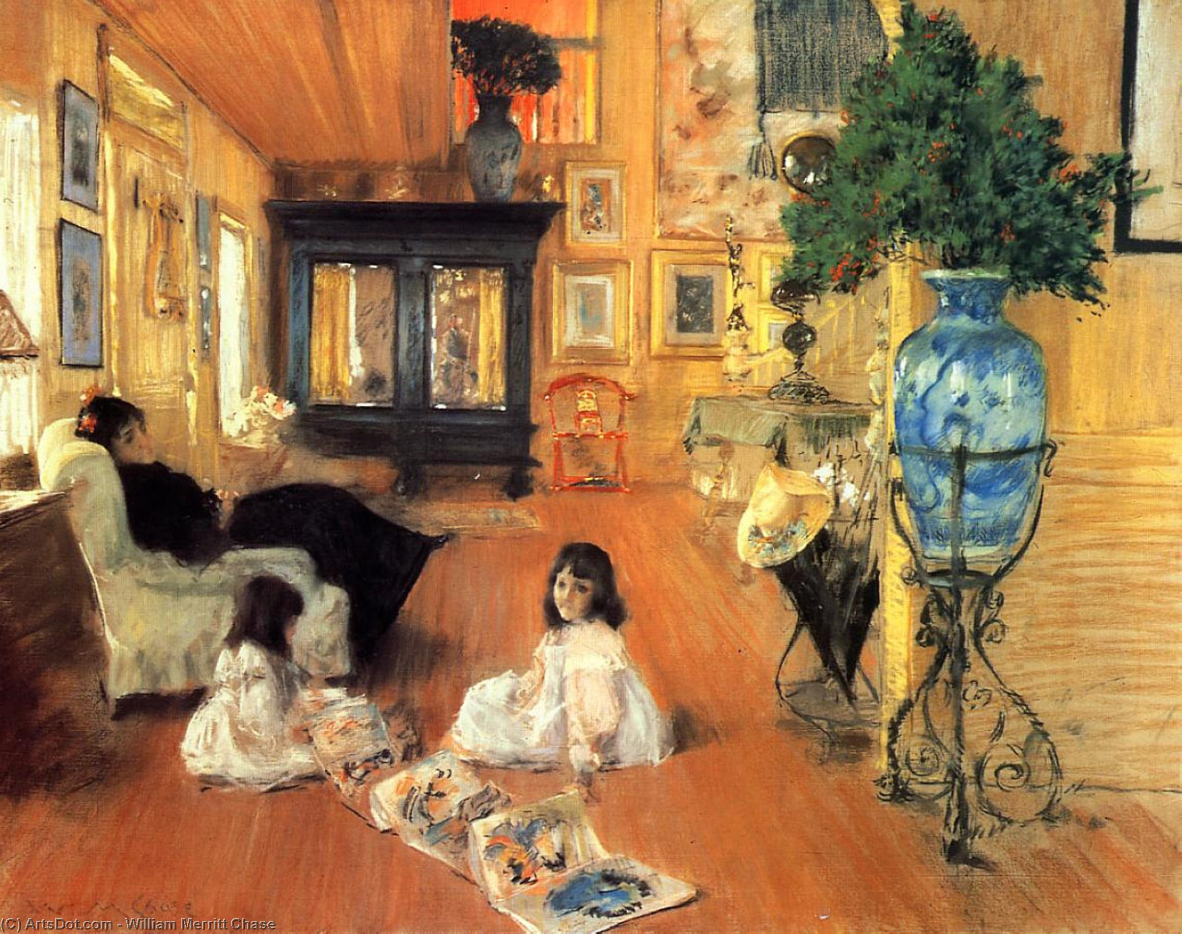 Sala a Shinnecock, pastello di William Merritt Chase (1849-1916, United States)