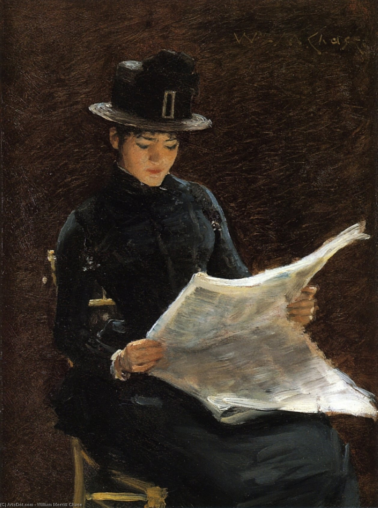 Il Morning News, olio su tavola di William Merritt Chase (1849-1916, United States)