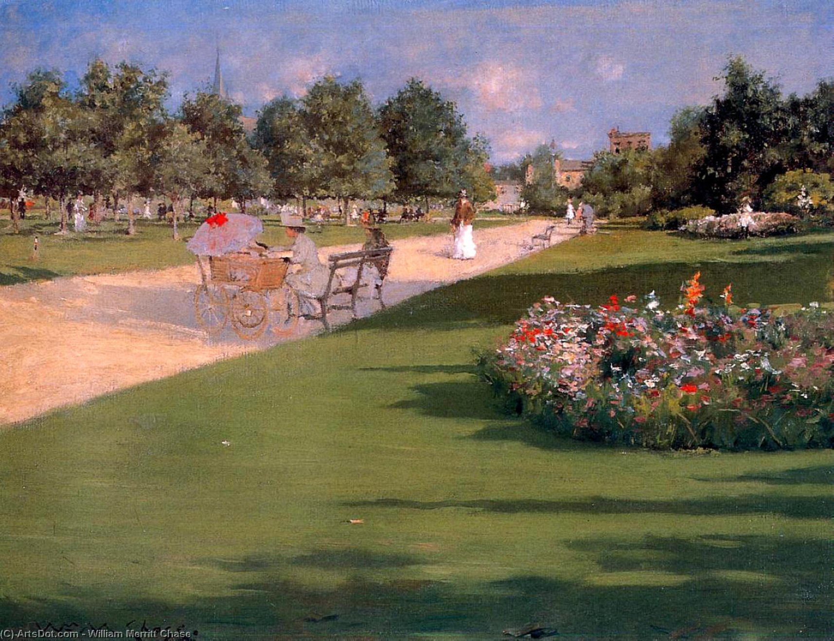 Tompkins Parco , Brooklyn, 1887 di William Merritt Chase (1849-1916, United States)