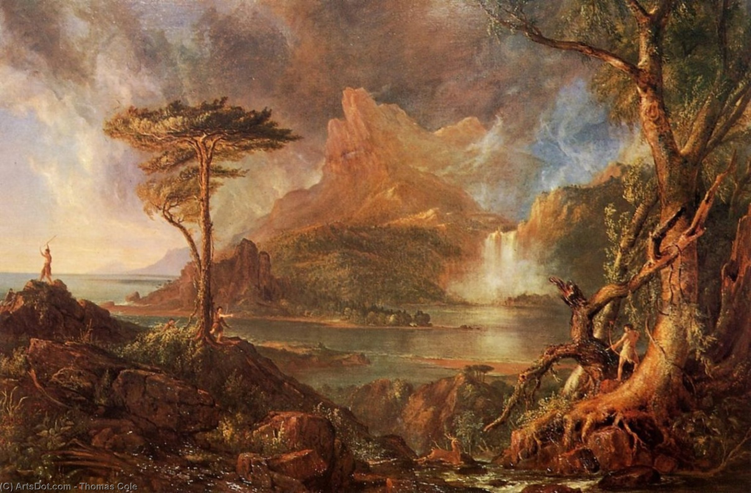 a selvaggio scena, olio su tela di Thomas Cole (1801-1848, United Kingdom)