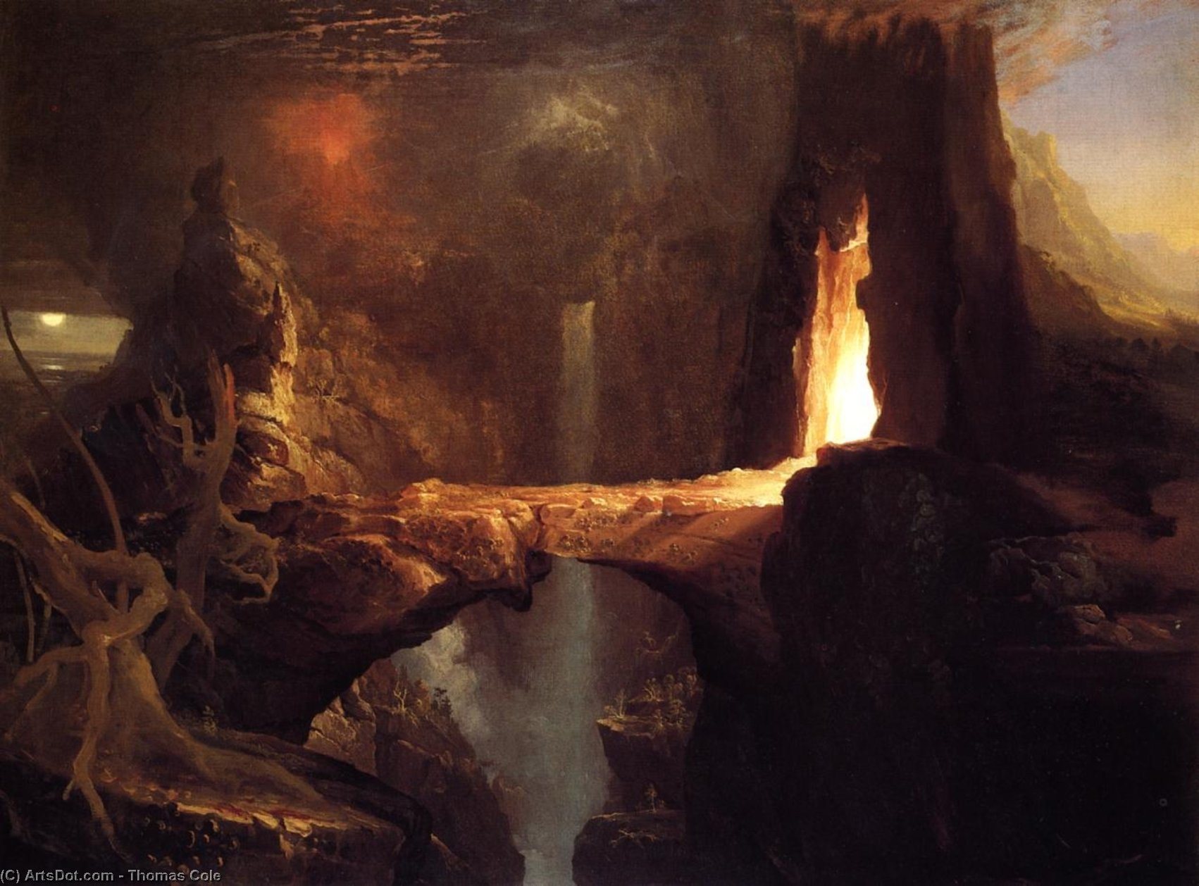 Espulsione . luna e firelight, 1828 di Thomas Cole (1801-1848, United Kingdom) | Copia Pittura | ArtsDot.com