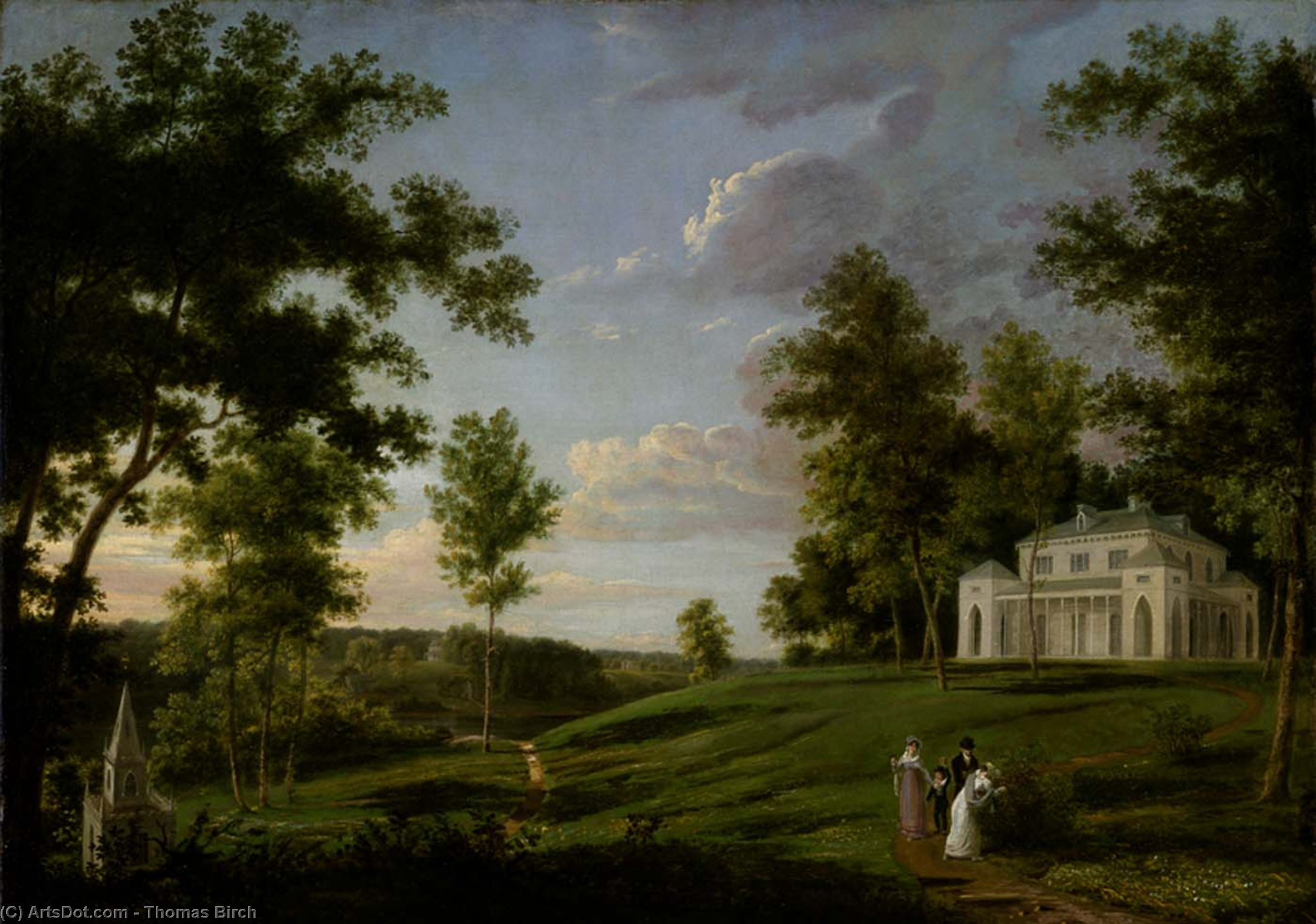 southeast vista sedgeley park , la residenza di campagna di james cowles fisher , Esq ., olio di Thomas Birch  (ordinare Belle Arti stampa fine art Thomas Birch)