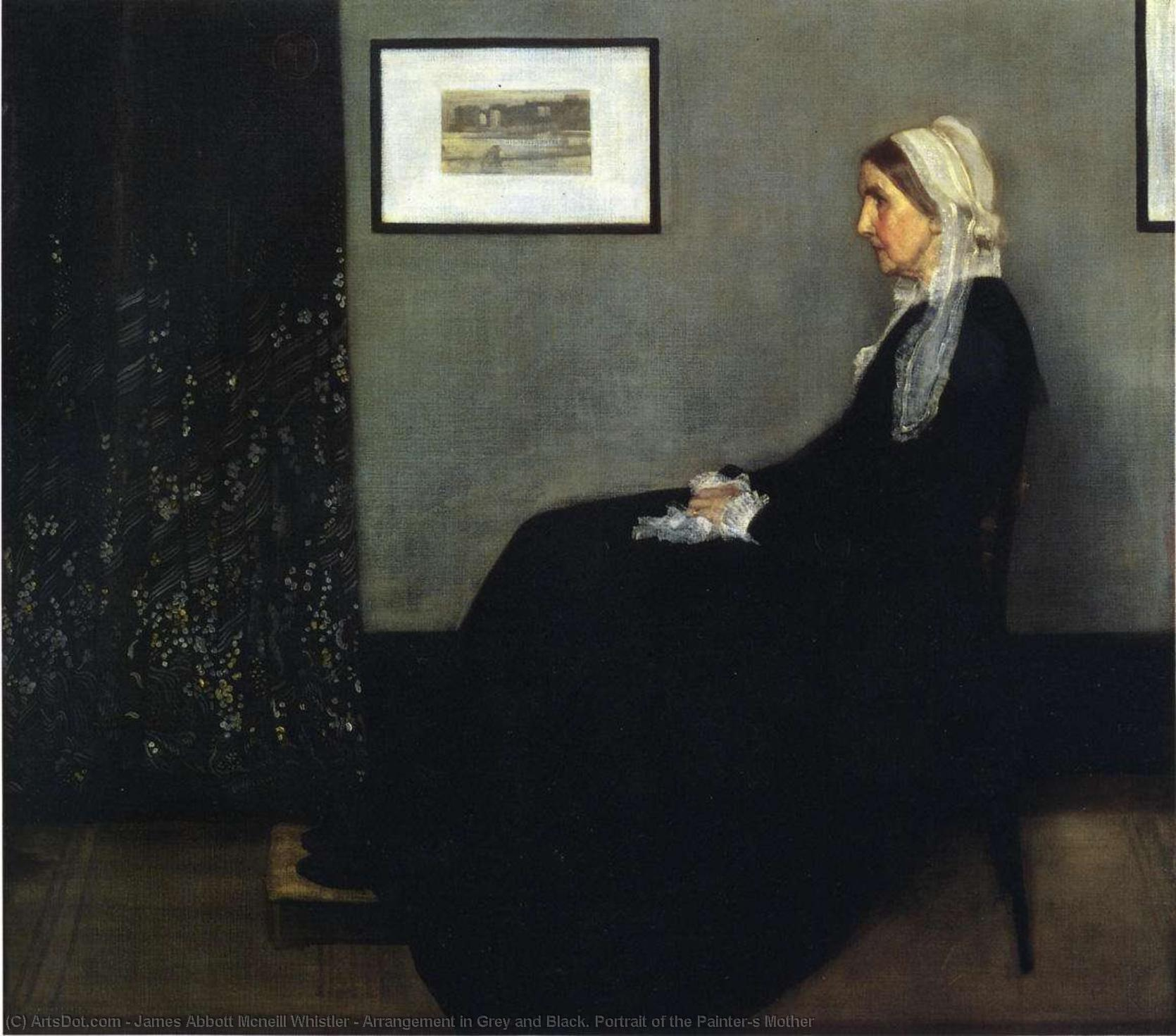 arrangiamento in grigio e nero . Ritratto del Painter`s Madre, 1871 di James Abbott Mcneill Whistler (1834-1903, United States) | Stampe D'arte Su Tela | ArtsDot.com