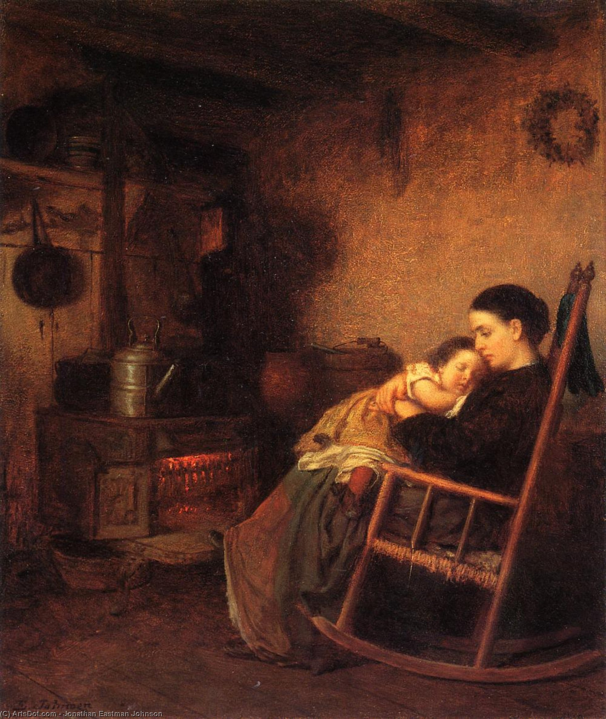 Ordinare Copia Pittura : Madre e il Bambino di Jonathan Eastman Johnson (1824-1906, United Kingdom) | ArtsDot.com