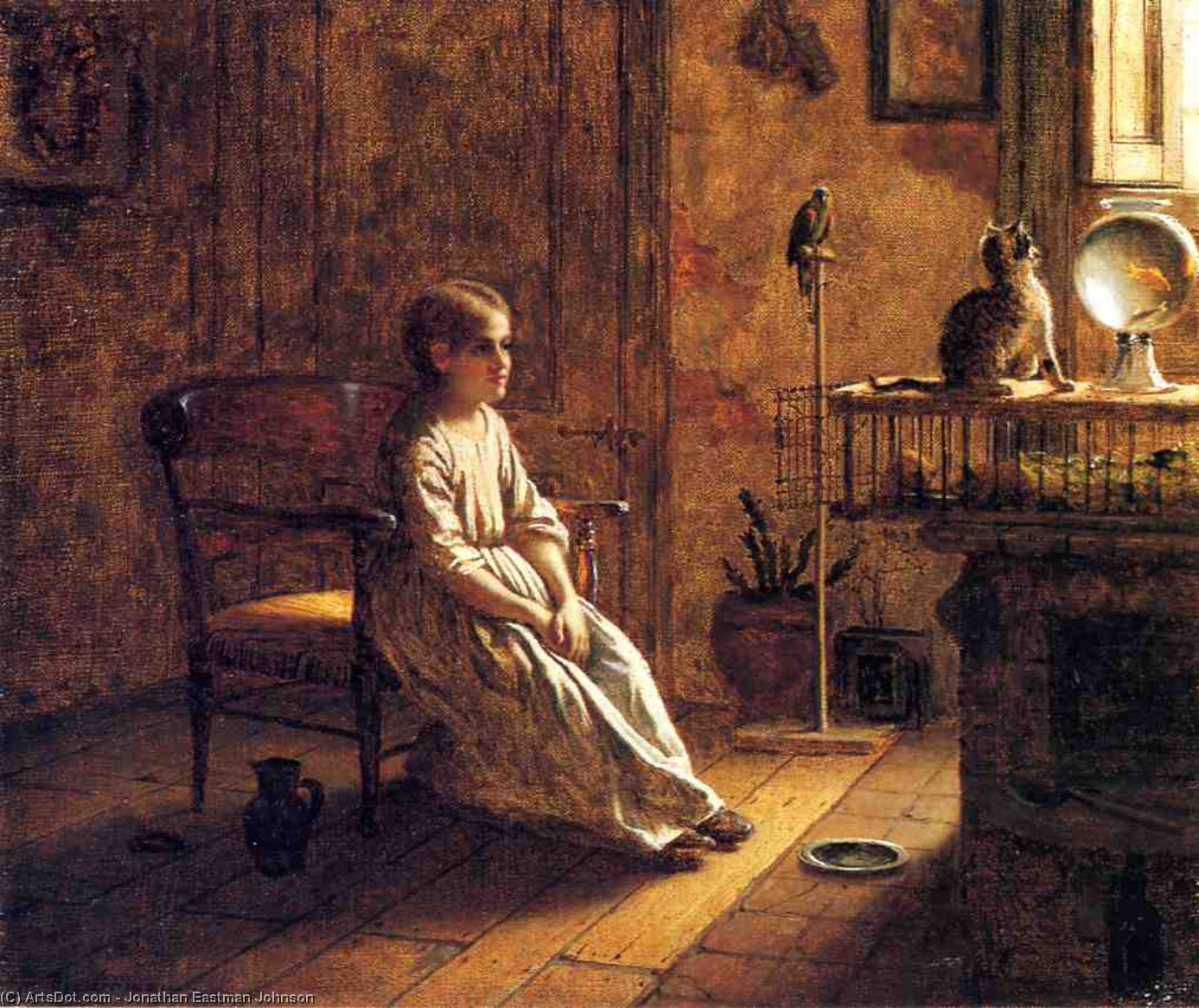 Un Child's Serraglio, olio su tela di Jonathan Eastman Johnson (1824-1906, United Kingdom)