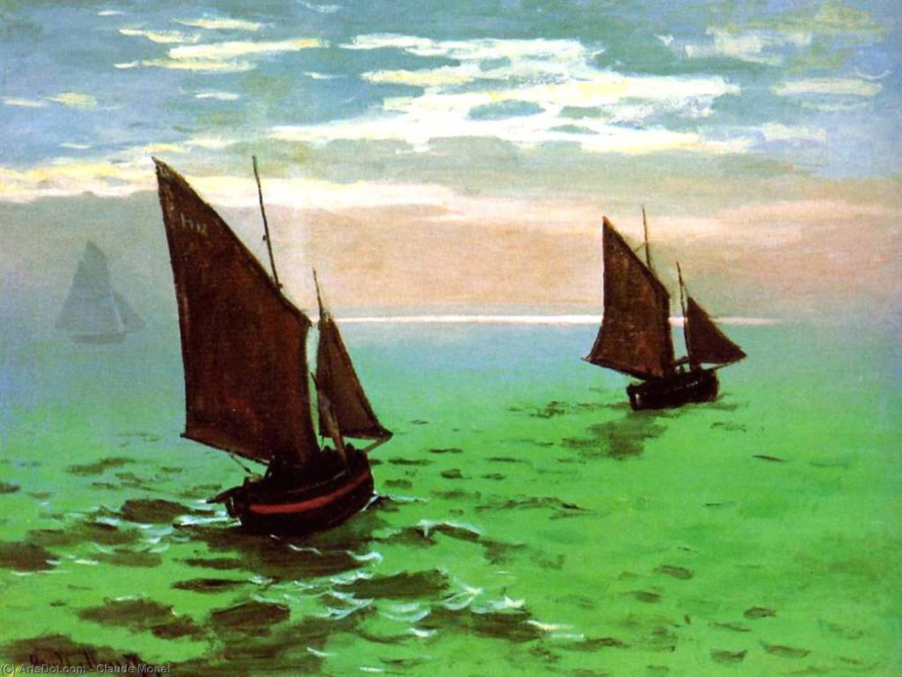 pescare barche a mare, 1868 di Claude Monet (1840-1926, France)   Riproduzioni Di Quadri Claude Monet   ArtsDot.com