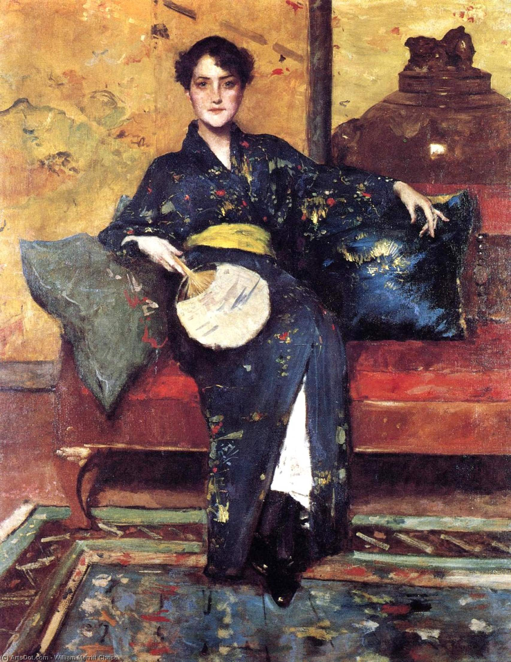 il blu Chimono , aka ragazza in blu kimono, olio su tela di William Merritt Chase (1849-1916, United States)