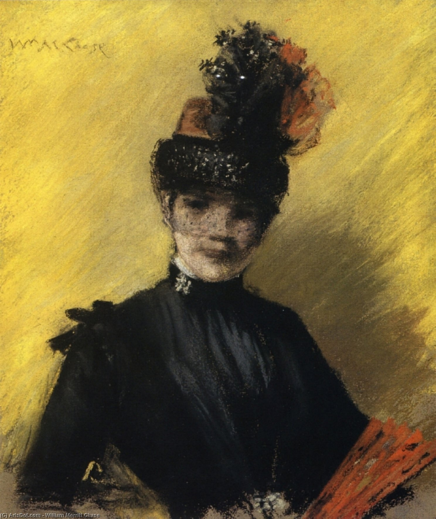 Ordinare Stampe D'arte Su Tela : Studio di Nero contro Yello, 1886 di William Merritt Chase (1849-1916, United States) | ArtsDot.com