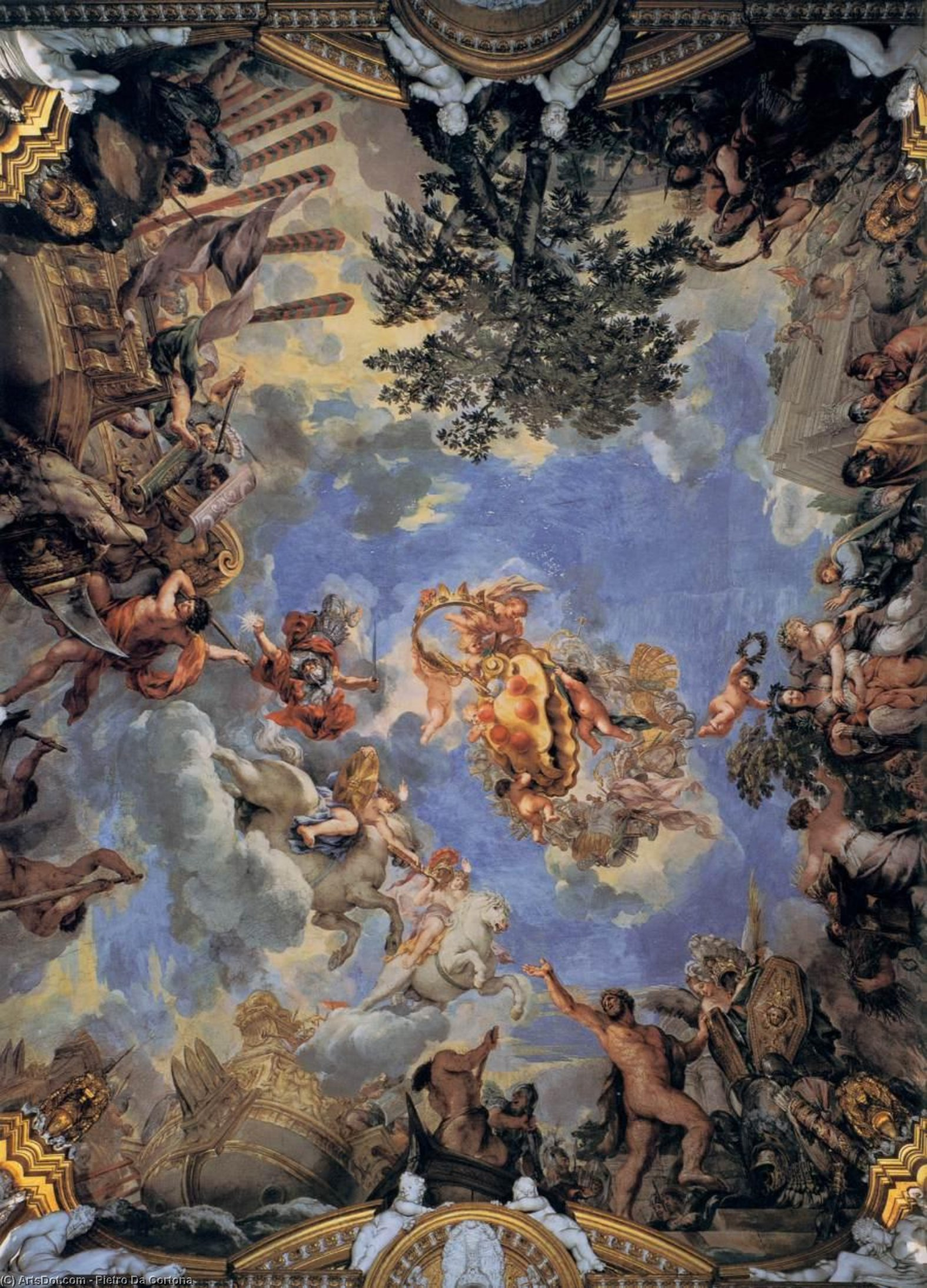 Soffitto affresco con medici coat-of-arms, affreschi di Pietro Da Cortona (1596-1669, Italy)