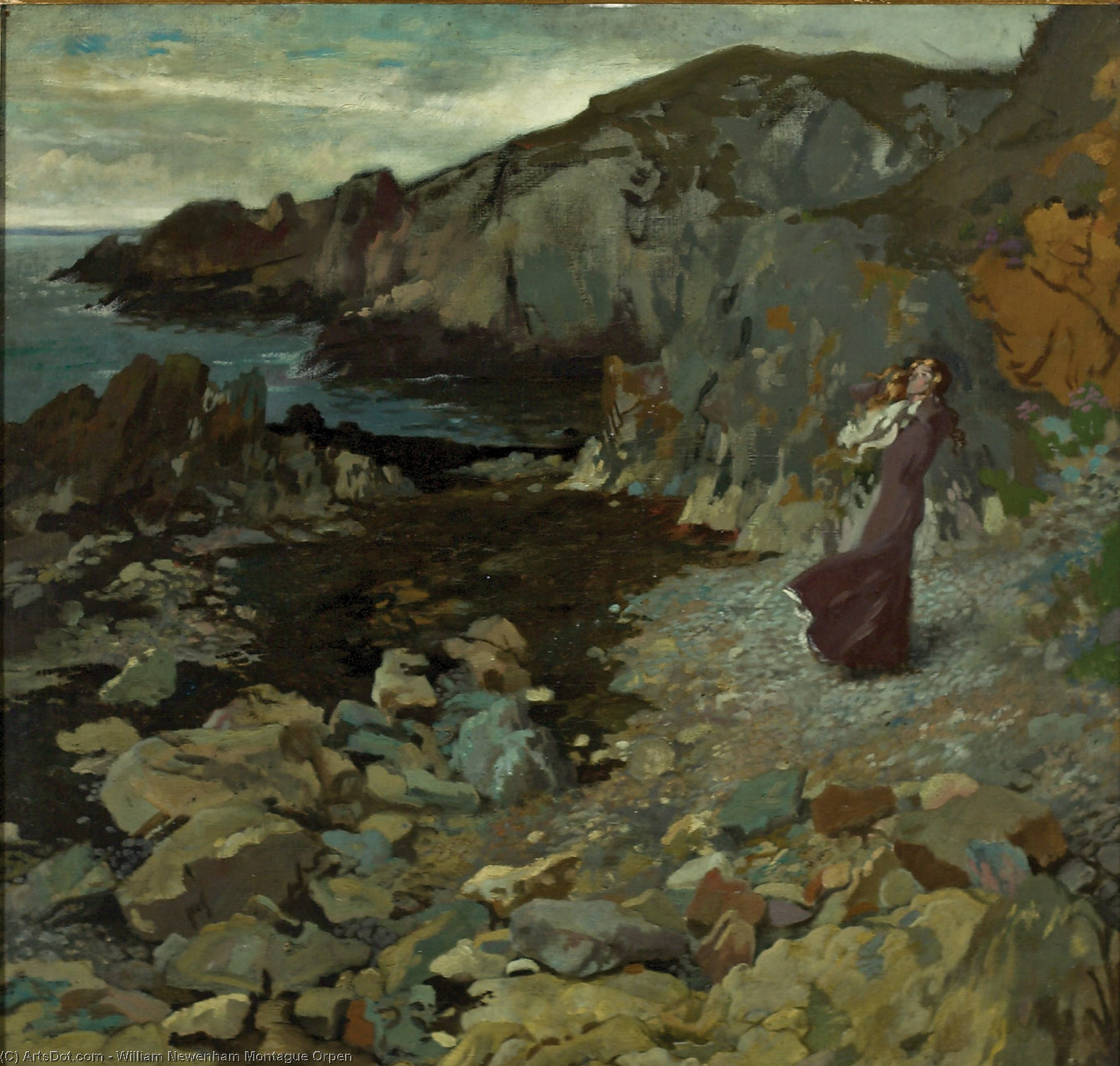 roccioso costa scena a howth, olio su tela di William Newenham Montague Orpen (1878-1931, Ireland)
