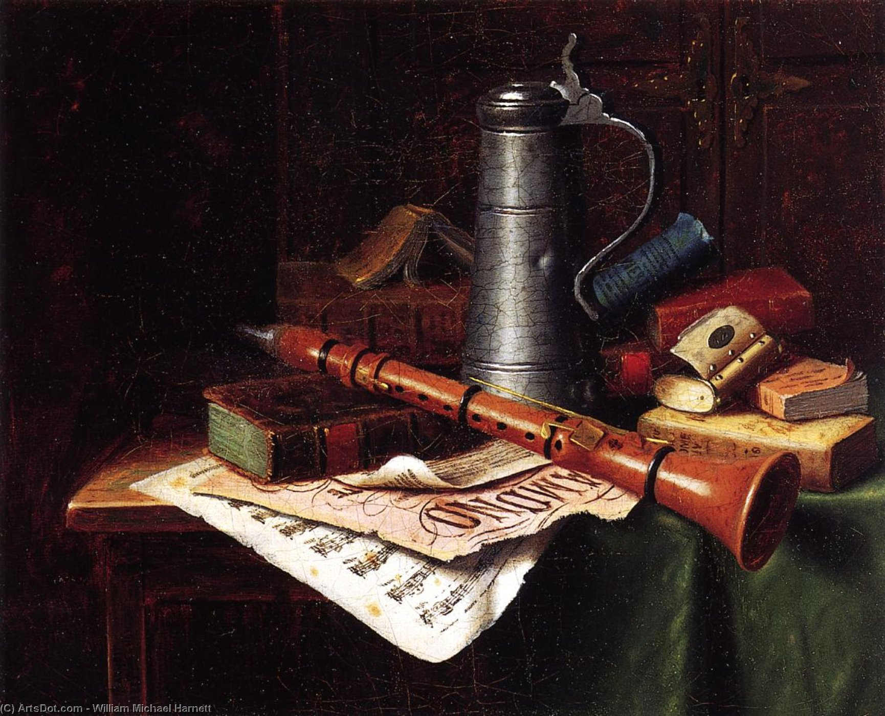 ancora la vita con Clarinetto , olio su tela di William Michael Harnett (1848-1892, Ireland)