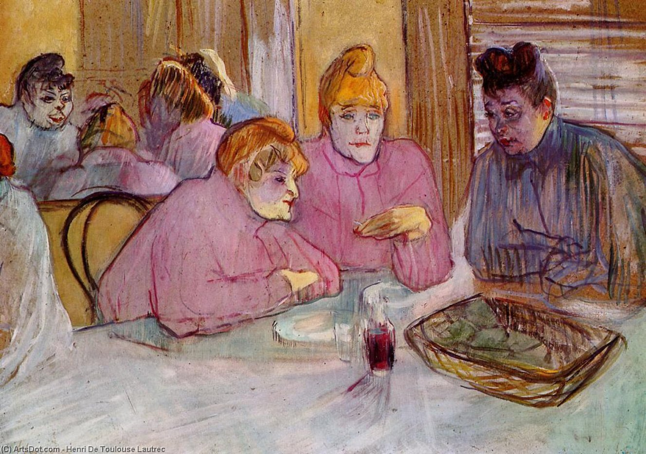 donna in un bordello , olio su tavola di Henri De Toulouse Lautrec (1864-1901, France)