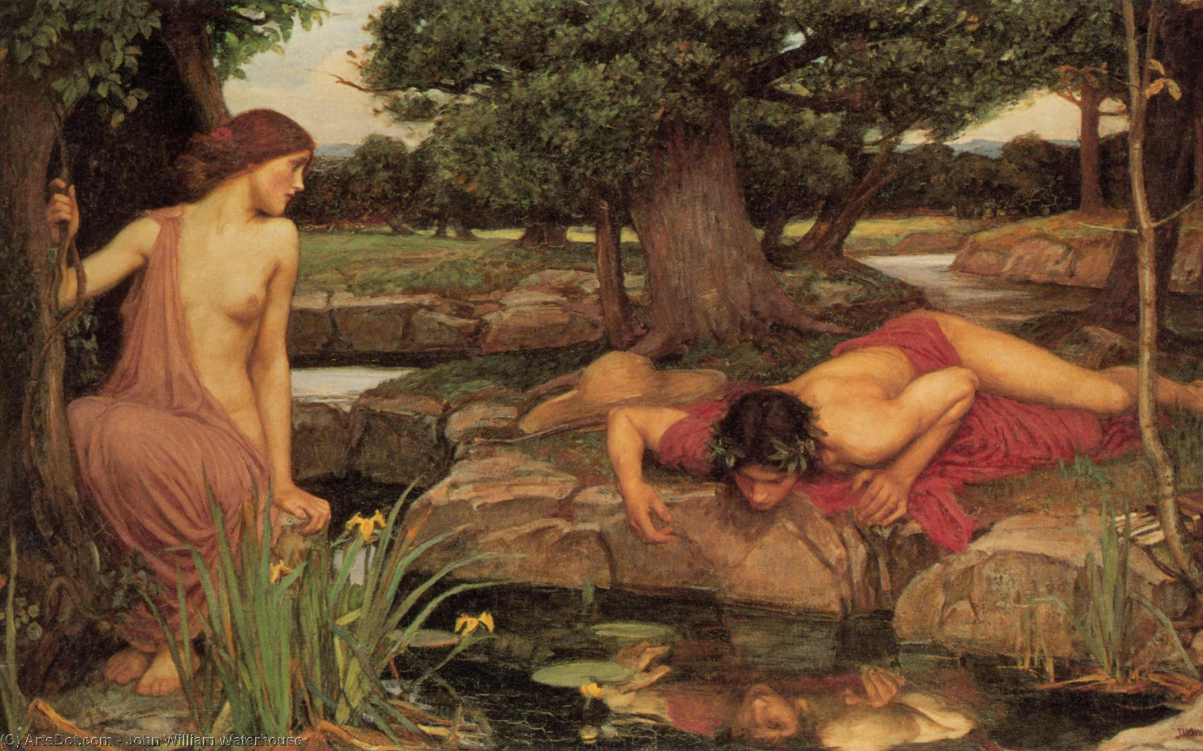 eco e narciso, 1903 di John William Waterhouse (1849-1917, Italy) | Riproduzioni D'arte Del Museo John William Waterhouse | ArtsDot.com