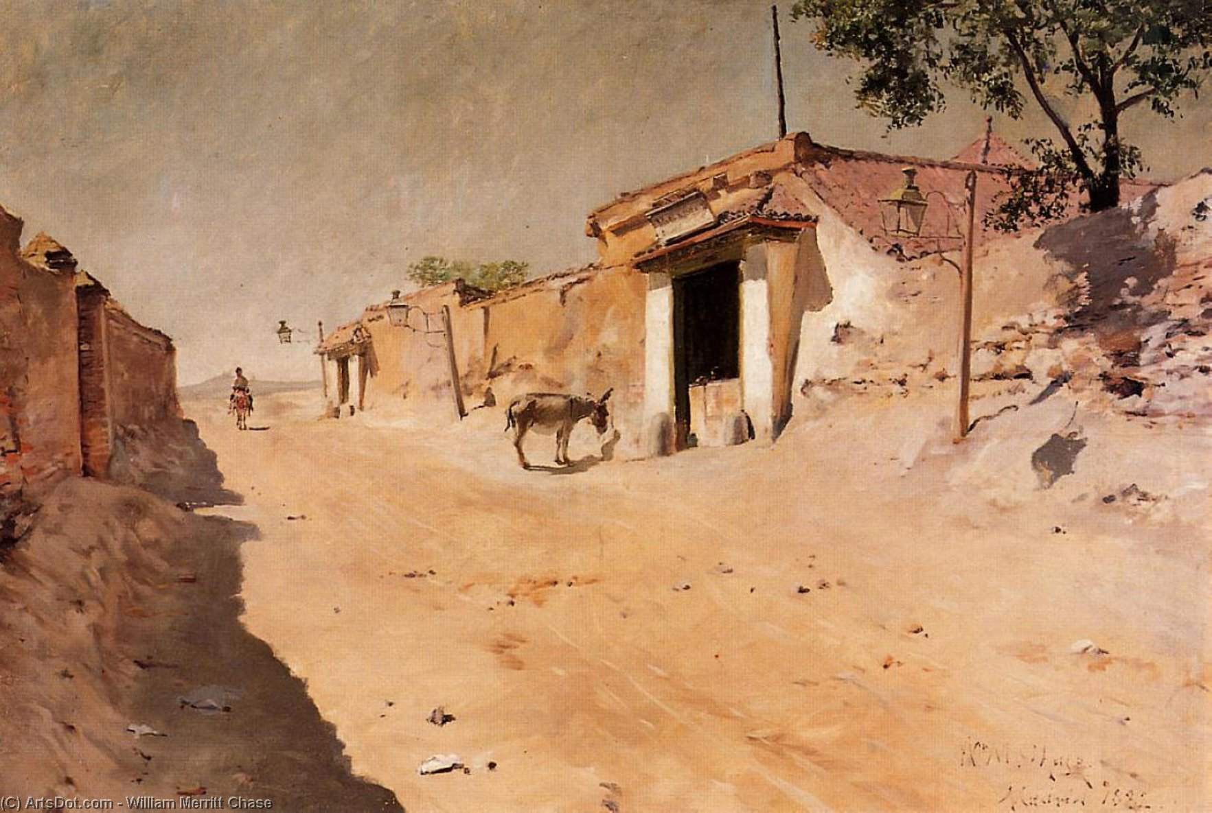 spagnolo villaggio, olio su tela di William Merritt Chase (1849-1916, United States)