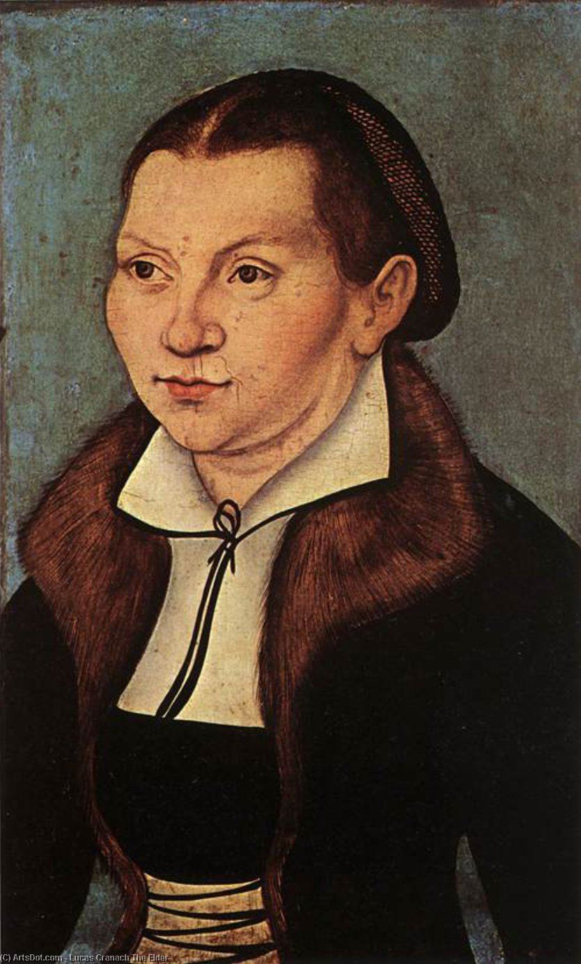 Ritratti di Catherine Bore, olio di Lucas Cranach The Elder (1472-1553, Germany)