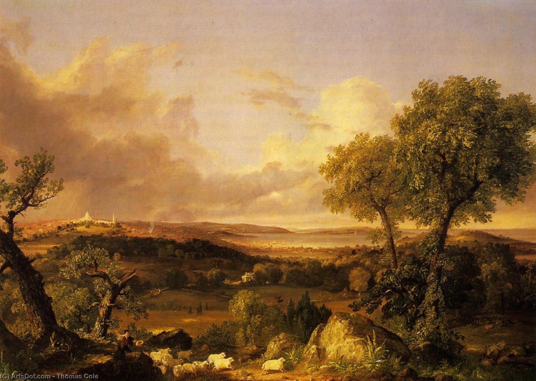 veduta di boston, olio su tela di Thomas Cole (1801-1848, United Kingdom)