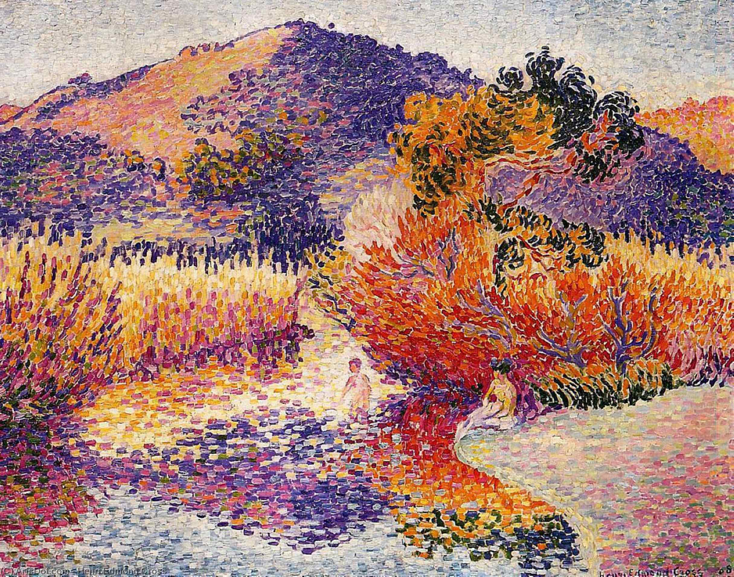 Fiume nel Saint-cir, olio su tela di Henri Edmond Cross (1856-1910, France)