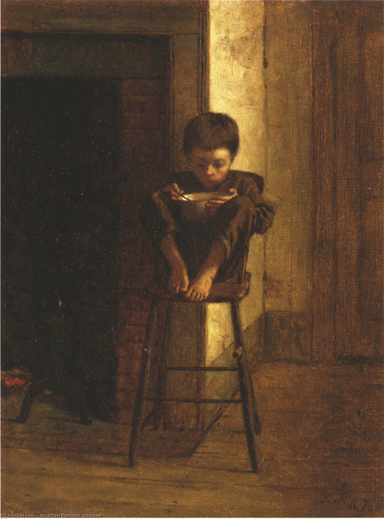 Bambina con Red Jacket potabile da Mug di Jonathan Eastman Johnson (1824-1906, United Kingdom)