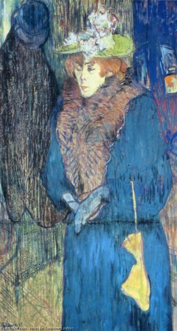 Jane Avril Entrando nel Moulin Rouge, olio su tavola di Henri De Toulouse Lautrec (1864-1901, Second French Empire)