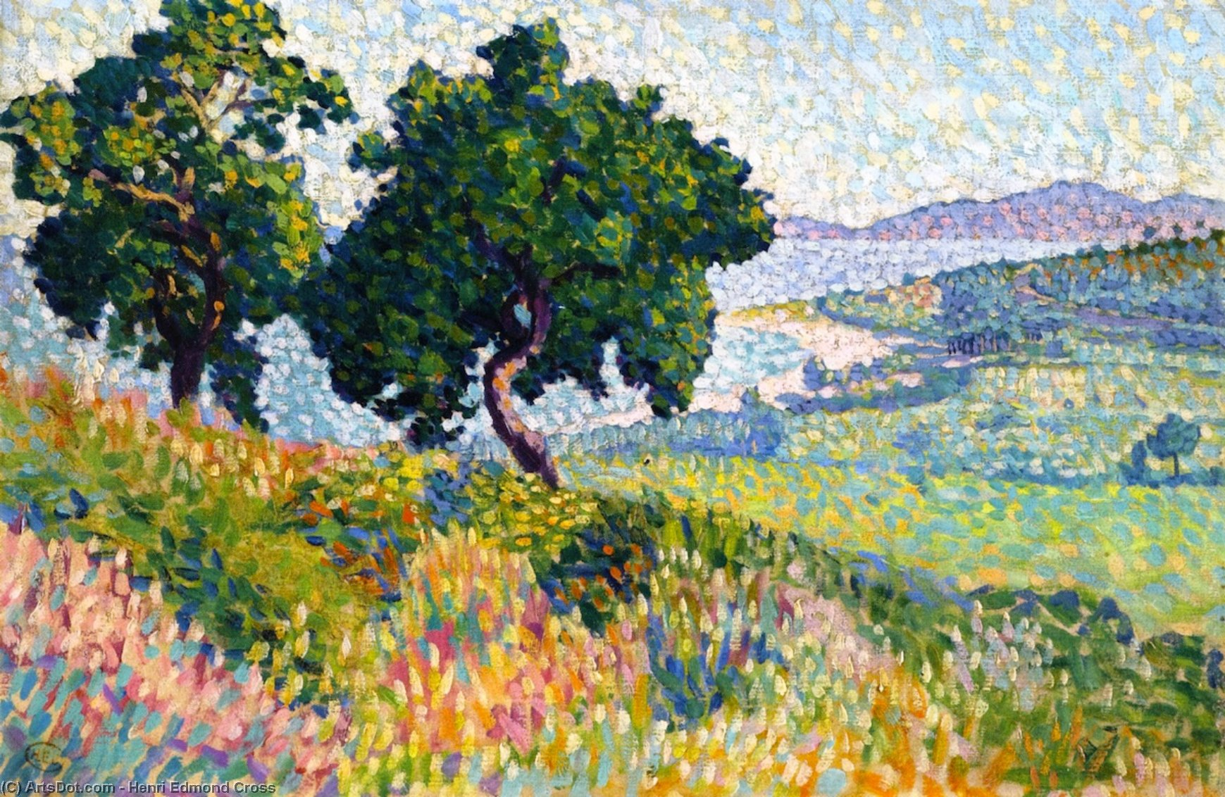 te baie de Santo Clair, olio su tela di Henri Edmond Cross (1856-1910, France)
