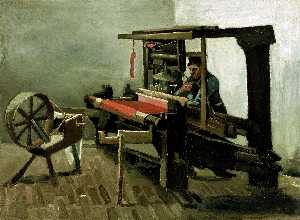 Vincent Van Gogh - Tessitore Facing sinistra con Spinning Wheel