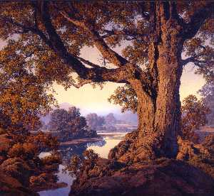 Maxfield Parrish - Riverbank in autunno