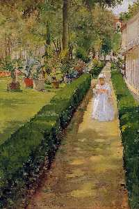 William Merritt Chase - Bambino su una Garden Walk