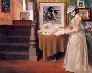 William Merritt Chase - interni giovani  donna  i..