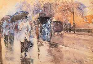 Frederick Childe Hassam - Rainy Day sulla Fifth Ave..