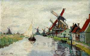 Claude Monet - Mulini a vento in Olanda