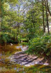 Peder Mork Monsted - a fiume paesaggio