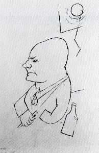 George Grosz - Dada-drawing --Man con una lama , bottiglia e il Moon--