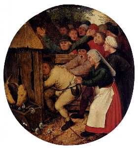 Pieter Bruegel The Younger - Spinto Into The Pig Sty