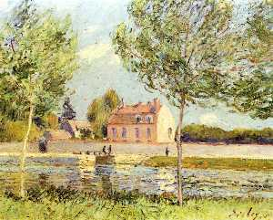 Alfred Sisley - Houses on the banks of th..