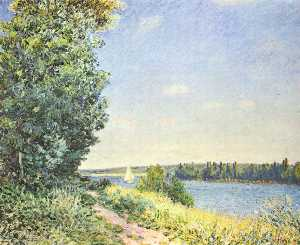 Alfred Sisley - Normandia ,  the water path , nel evening at Sahurs